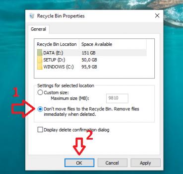 Xóa file dữ liệu trên Windows không qua Thùng rác