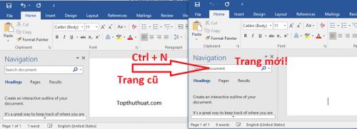Ctrl + N Thao tác mở một trang Word mới