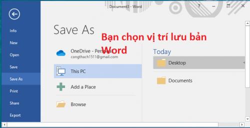 Ctrl + S Thao tác cho phép lưu lại bản word đang mở