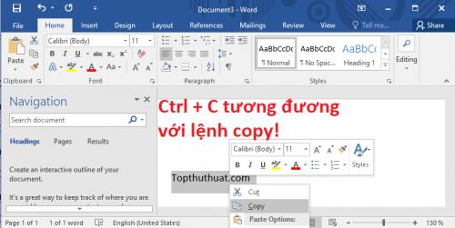 Ctrl + C Lệnh sao chép nội dung