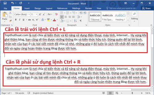 Ctrl + L, Ctrl + R Lệnh căn lề trái và phải