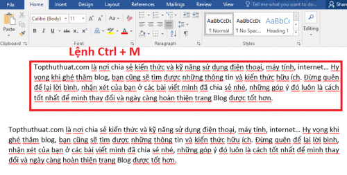 Ctrl + M Lệnh thụt toàn bộ đoạn văn vào 1 khoảng bên trái