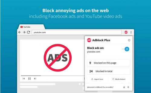 tiện ích chặn quảng cáo AdBlock Plus cho máy tính và điện thoại