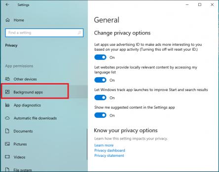 tắt ứng dụng chạy ngầm trên Windows 10