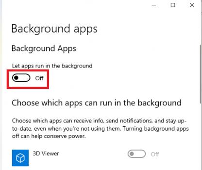 Tắt ứng dụng chạy dưới nền Win 10