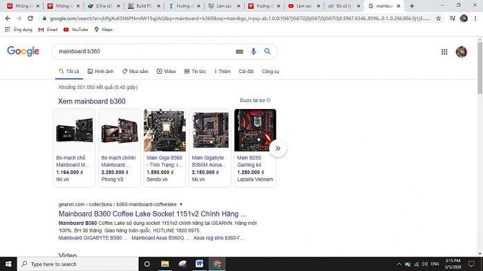 Tìm mainboard tương thích trên google