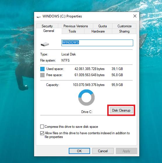 Sử dụng Disk Cleanup để dọn dẹp ổ đĩa