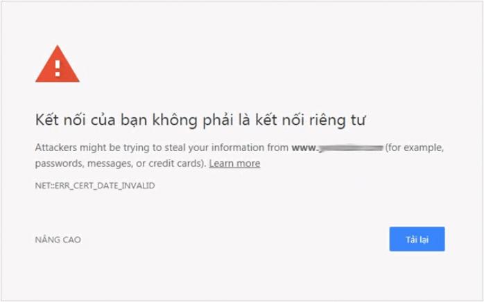 """thông báo """"Kết nối không riêng tư"""""""