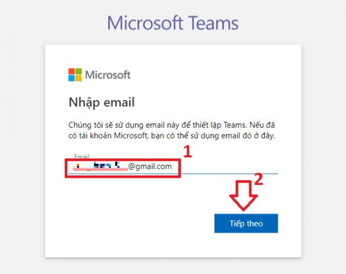 Tạo tài khoản Microsoft Teams
