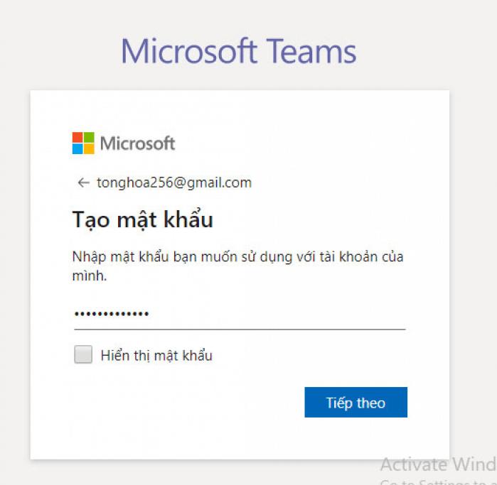 nhập mật khẩu cho tài khoản Microsoft teams