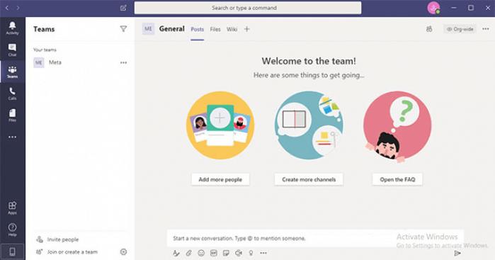 Giao diện màn hình làm việc của Microsoft teams
