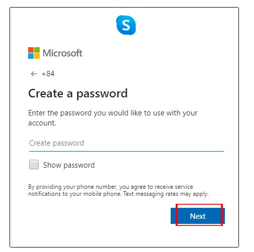 nhập mật khẩu cho tài khoản Skype