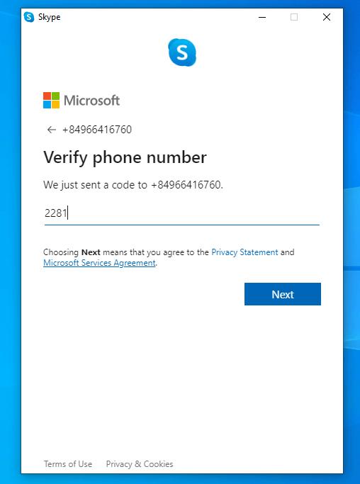 nhập mã xác minh tài khoản Skype
