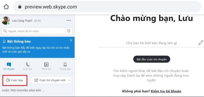 tạo phòng học trực tuyến trên Skype