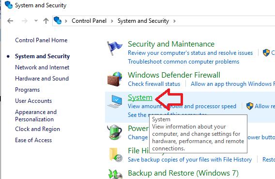 System and Security trên máy tính Windows