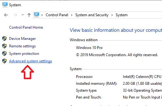 Mở Advanced system settings