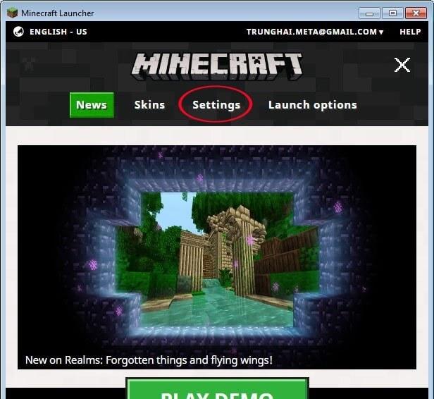 Mở cửa sổ cài đặt game minecraft