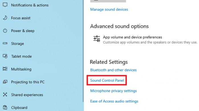 trang cài đặt âm thanh của máy tính Windows 10
