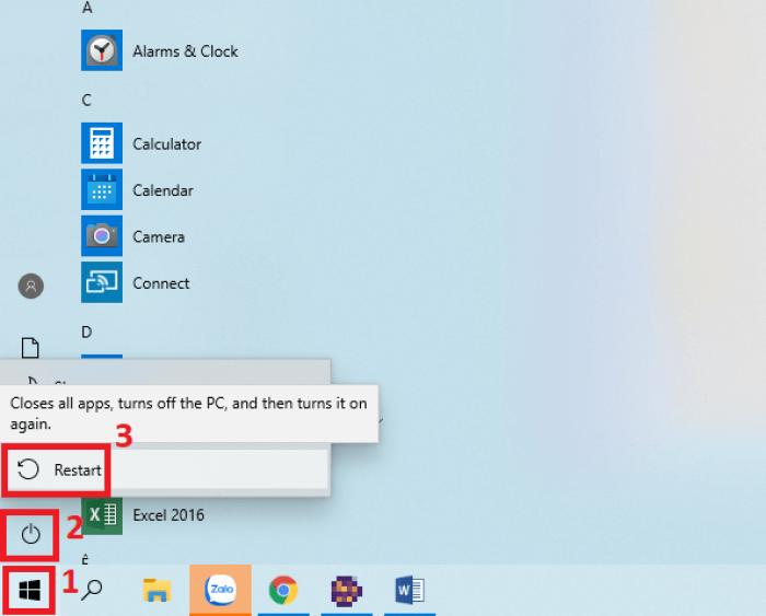 Restart máy tính Windows 10
