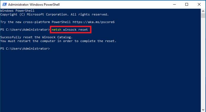 lệnh reset lại Windows Sockets gồm tất cả các kết nối và giao thức mạng