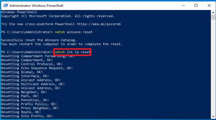 cài đặt lại TCP/IP bằng lệnh
