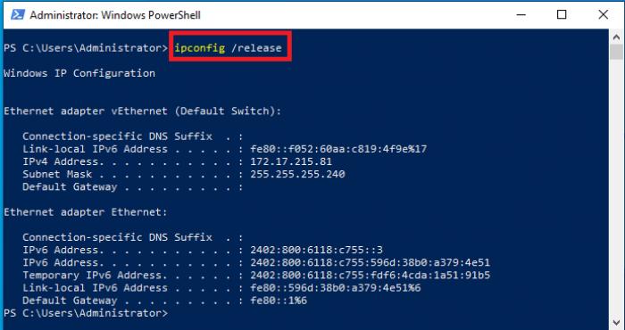 Xóa địa chỉ IP hiện tại của máy tính