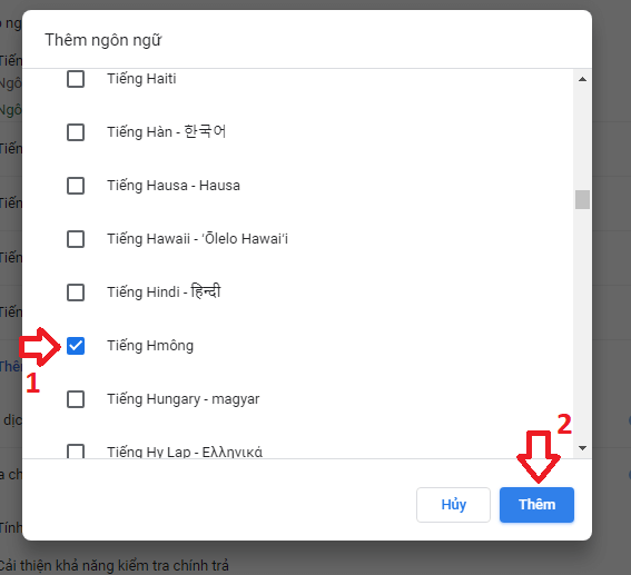 chọn ngôn ngữ cần thêm vào Chrome