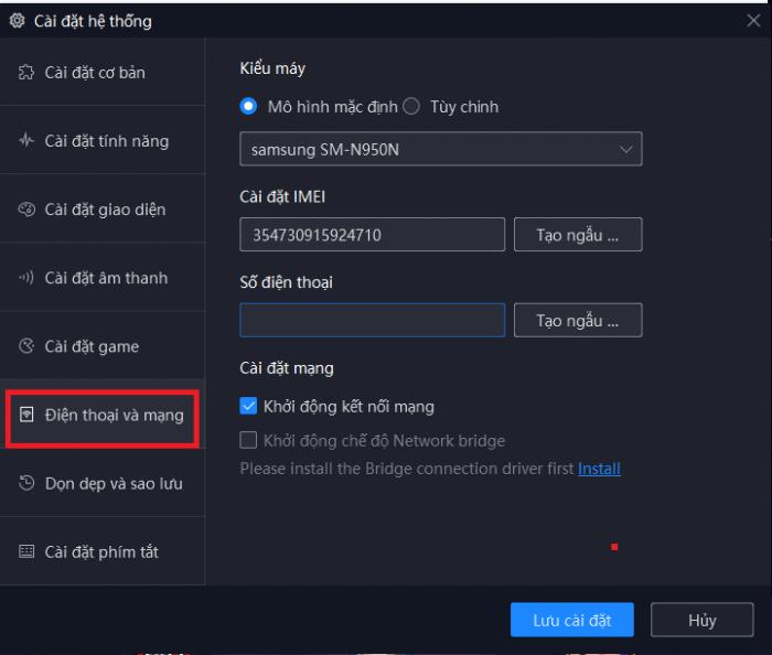 chọn kiểu máy Samsung cho noxplayer