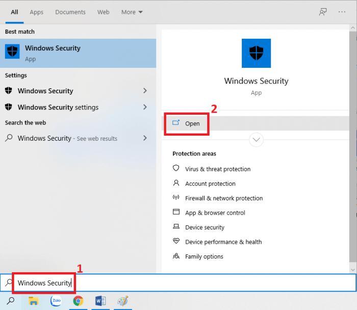 Khởi chạy Windows Defender