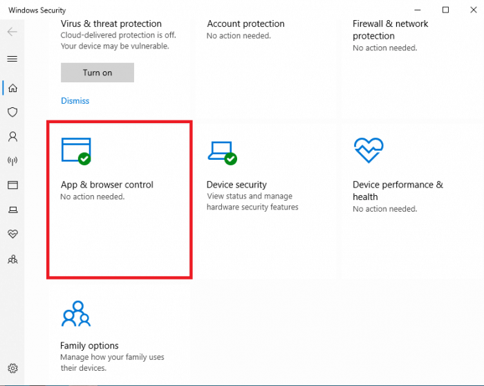 mở App & Browser Control Windows 10