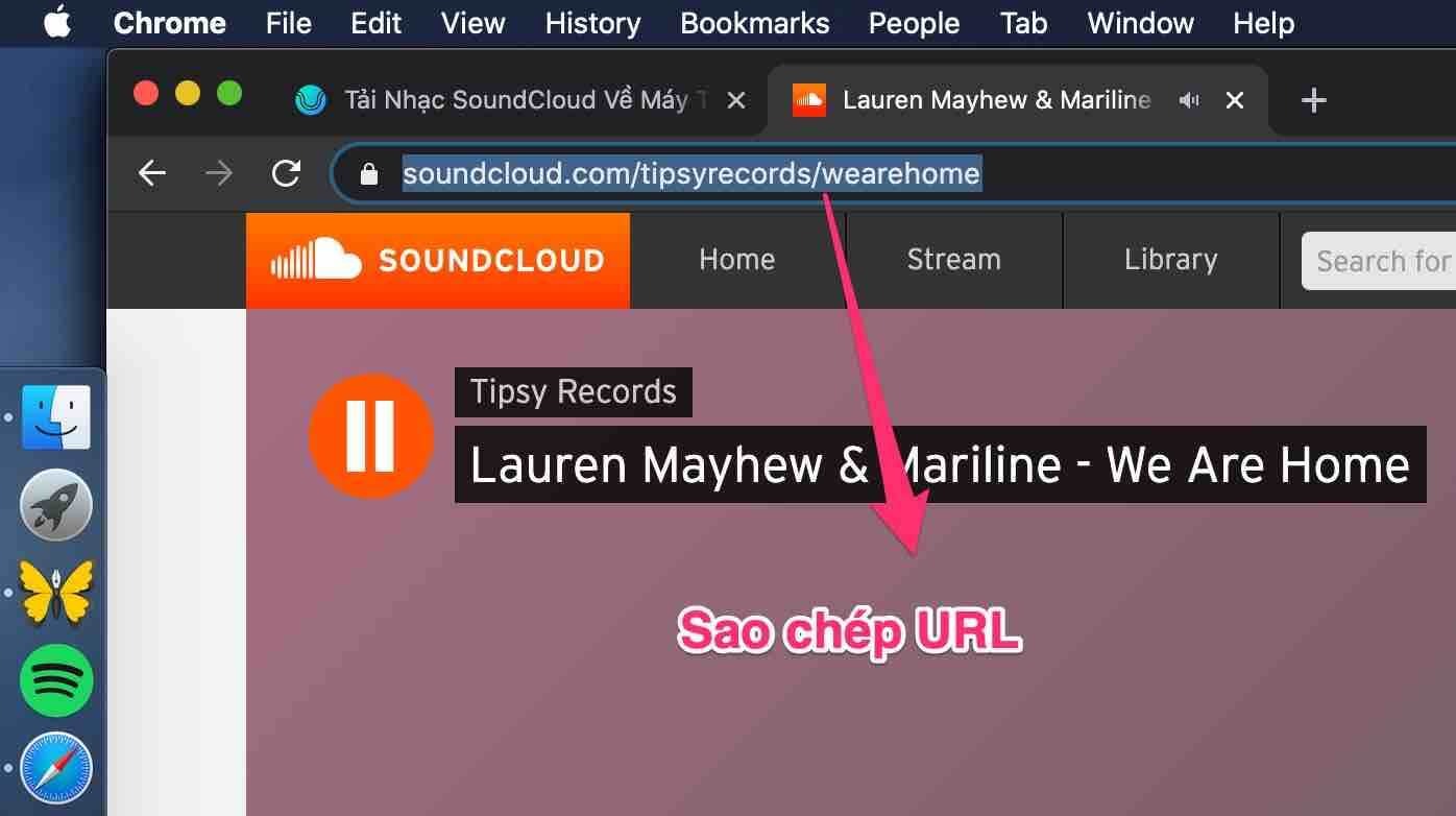 sao chep url soundcloud
