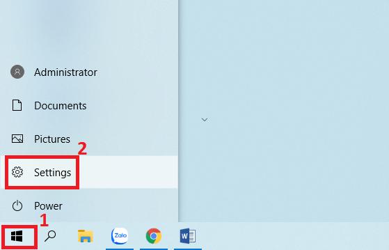 Vào Settings máy tính Windows 10