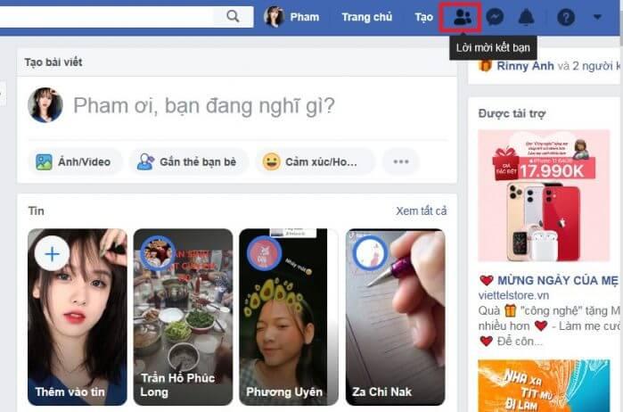 Danh sách kết bạn facebook
