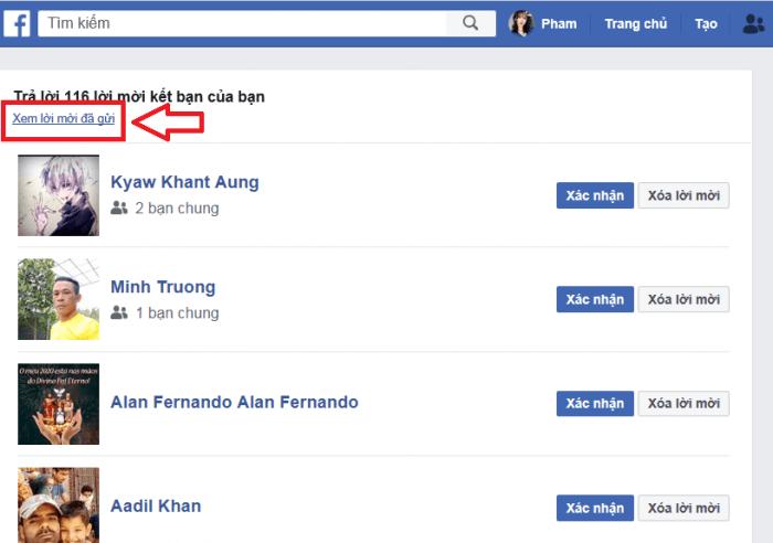 Xem lời mời đã gửi trên facebook