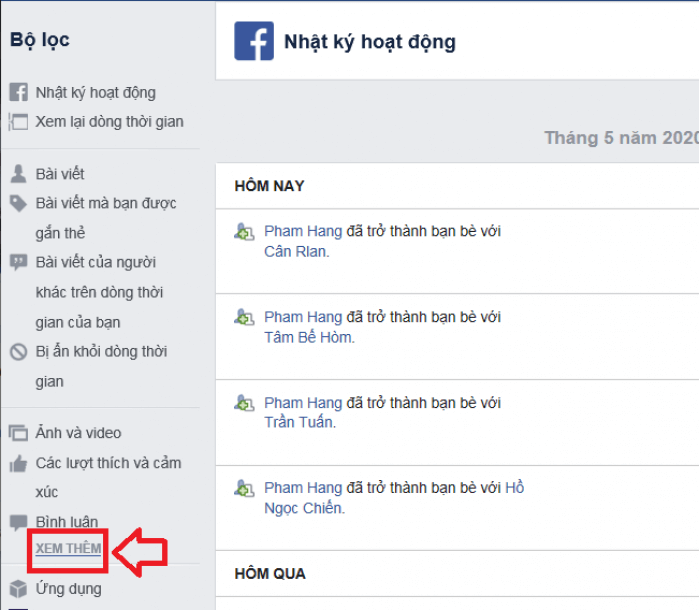 Quản lý danh sách đã hủy kết bạn facebook