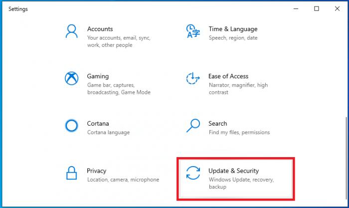 Mở cửa sổ Update & Security trên Win 10