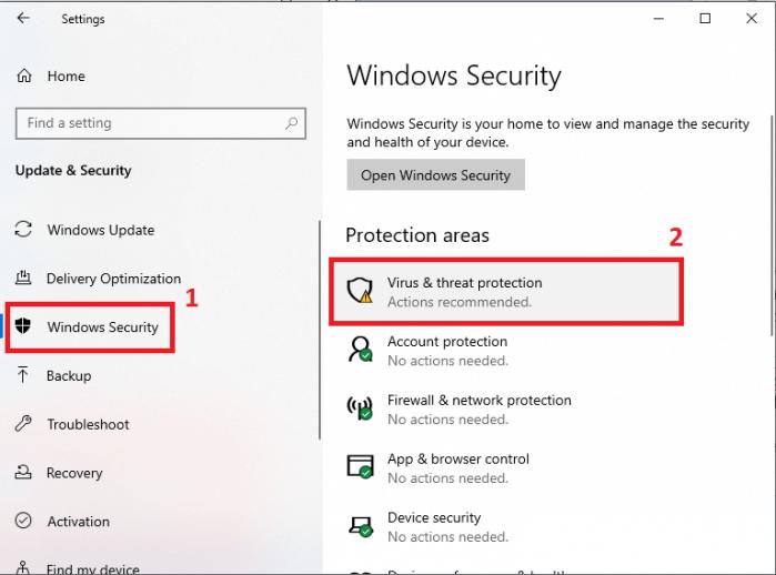 Mở Windows Security máy tính Win 10