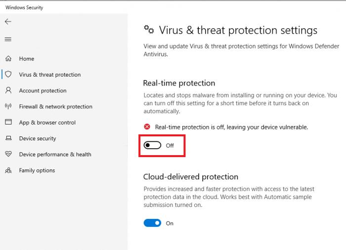 Tắt tính năng bảo vệ máy tính theo thời gian thực