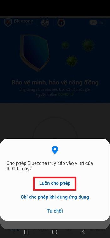 cho phép Bluezone truy cập vào vị trí của thiết bị