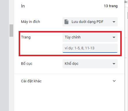 chọn trang cụ thể cần lưu định dạng PDF