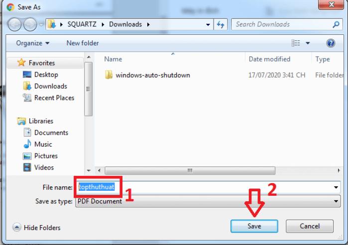 chọn vị trí lưu cho tệp PDF