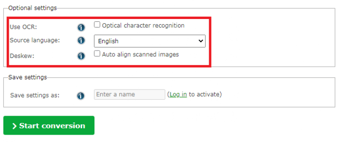 tùy chọn nâng cao chuyển file PDF