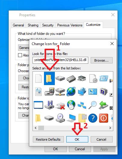 Thay đổi icon cho folder