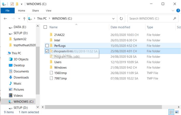 chọn tất cả các mục trong một thư mục hoặc ổ đĩa