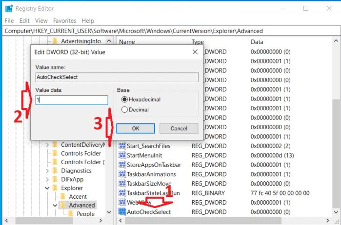 kích hoạt chức năng checkboxes Win 10 từ registry