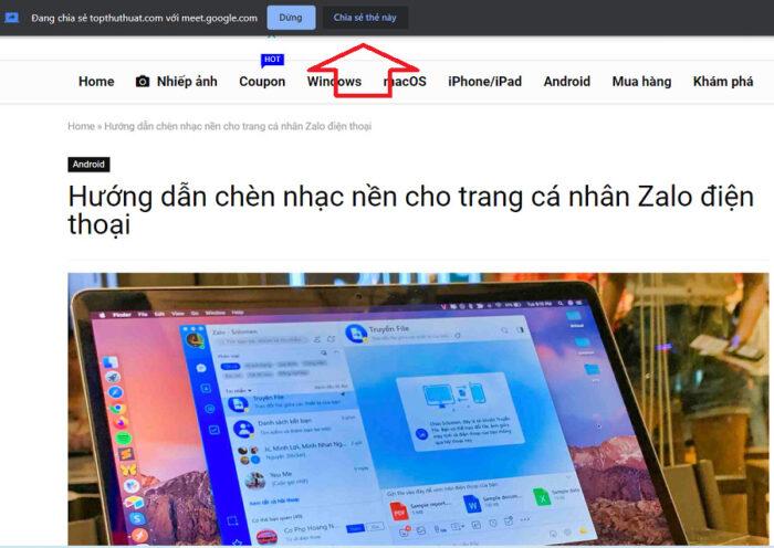Khi muốn chia sẻ một tab Chrome khác