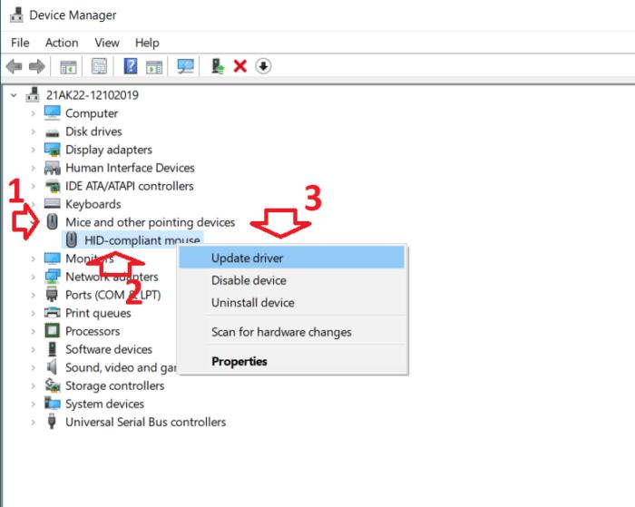 Update Driver chuột máy tính