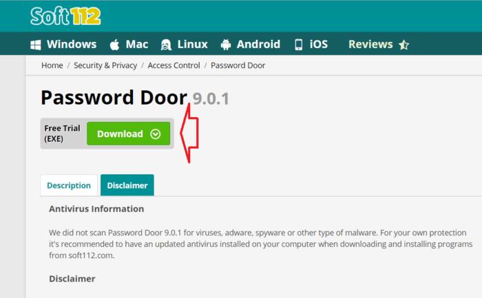 Tải và cài đặt Password Door