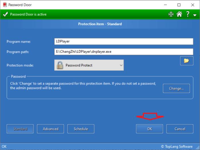 cửa sổ quản lý ứng dụng có thể thiết lập mật khẩu