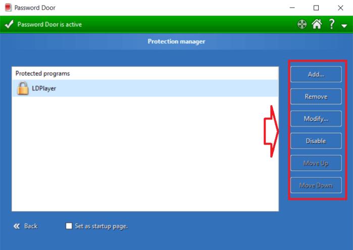 Danh sách những ứng dụng được bảo vệ bằng mật khẩu